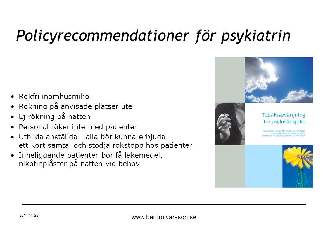 Policyrecommendationer för psykiatrin