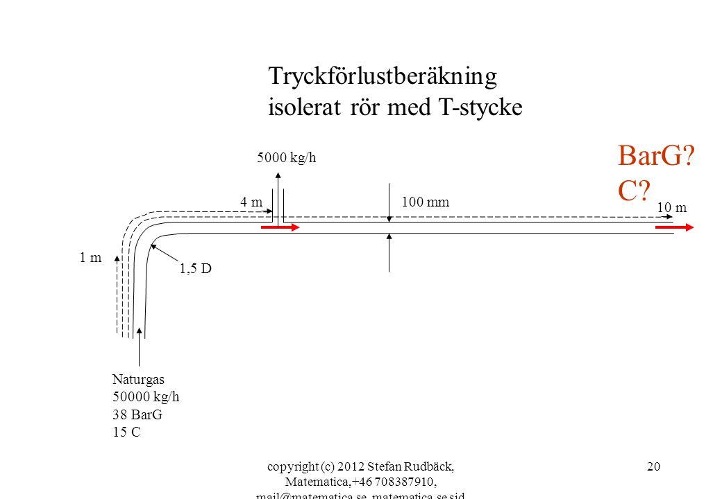 BarG C Tryckförlustberäkning isolerat rör med T-stycke 5000 kg/h 4 m