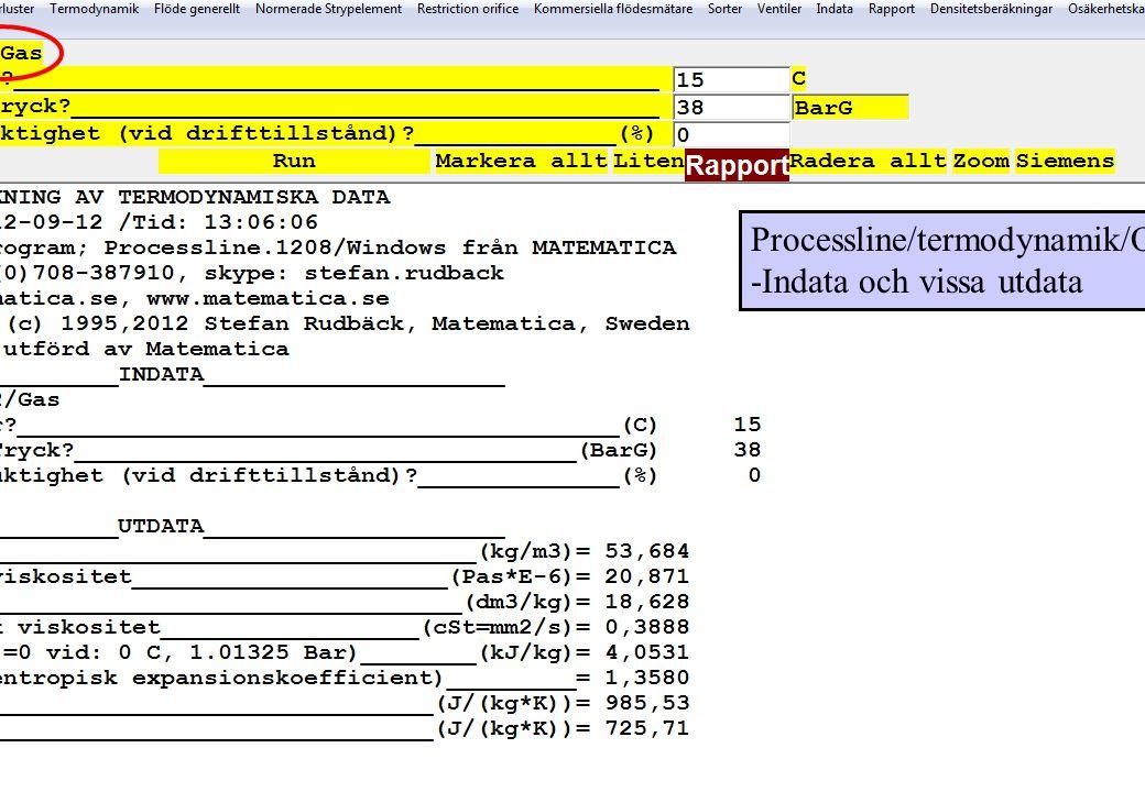 Processline/termodynamik/O2 -Indata och vissa utdata