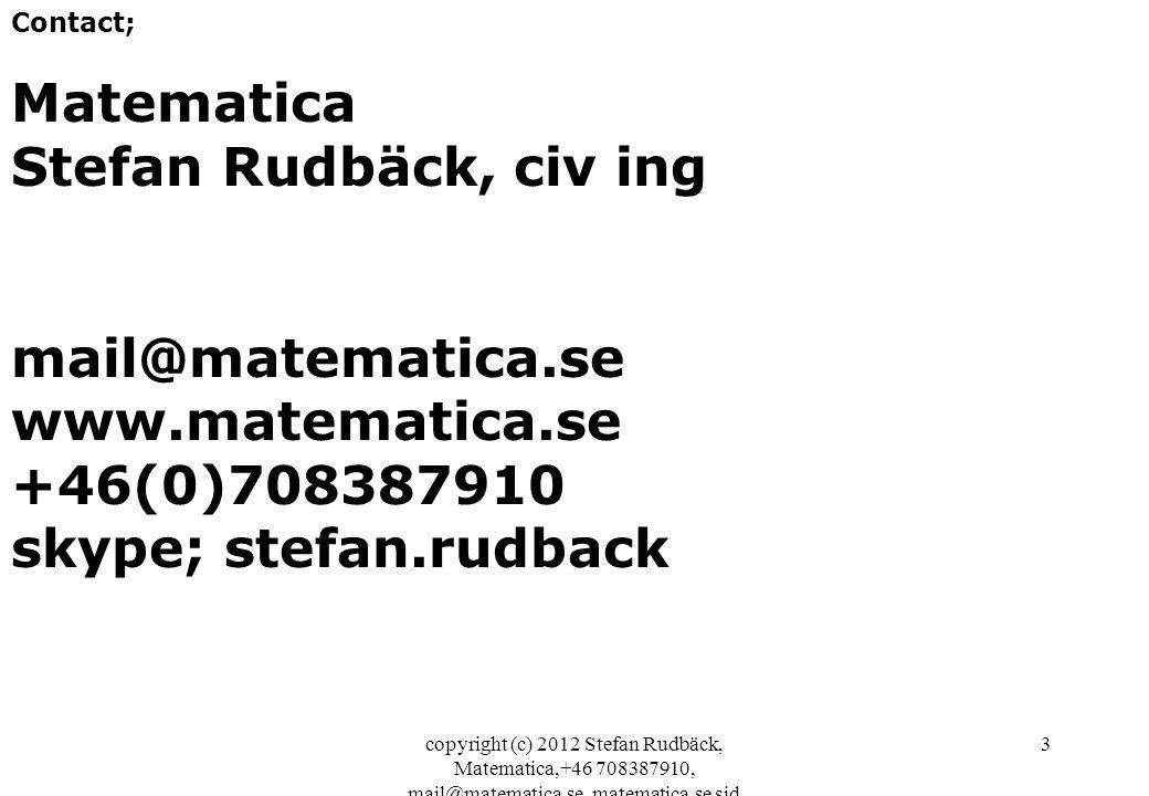 Matematica Stefan Rudbäck, civ ing mail@matematica.se