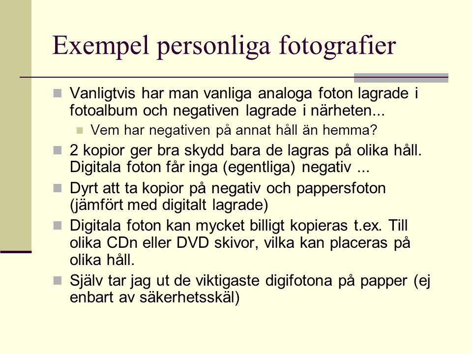 Exempel personliga fotografier