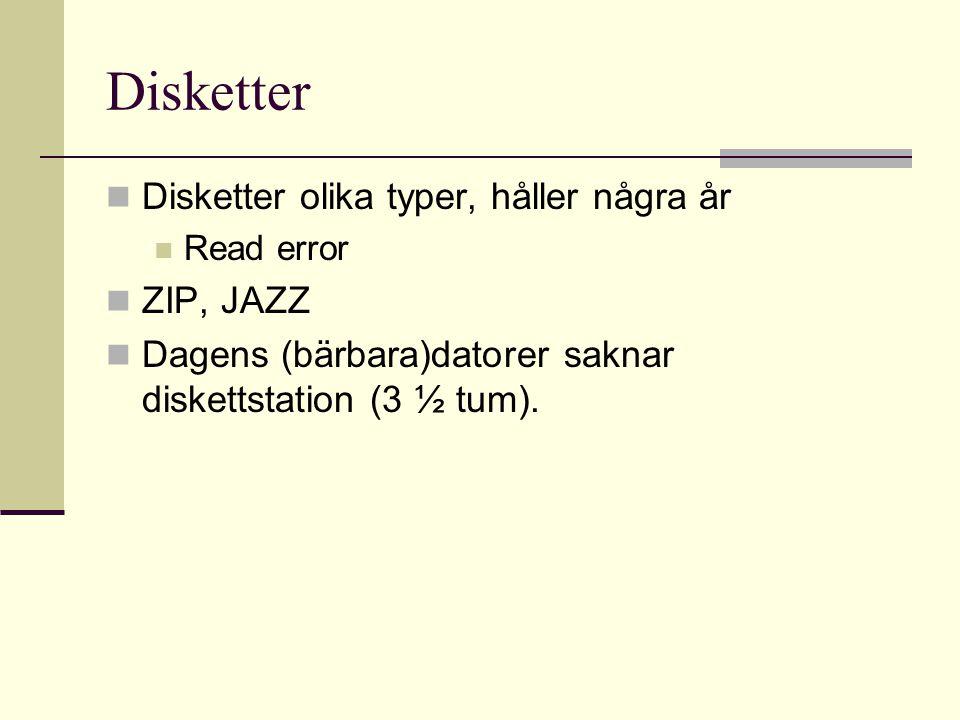 Disketter Disketter olika typer, håller några år ZIP, JAZZ