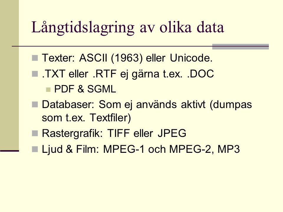 Långtidslagring av olika data