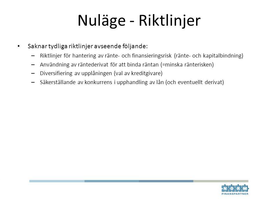 Nuläge - Riktlinjer Saknar tydliga riktlinjer avseende följande: