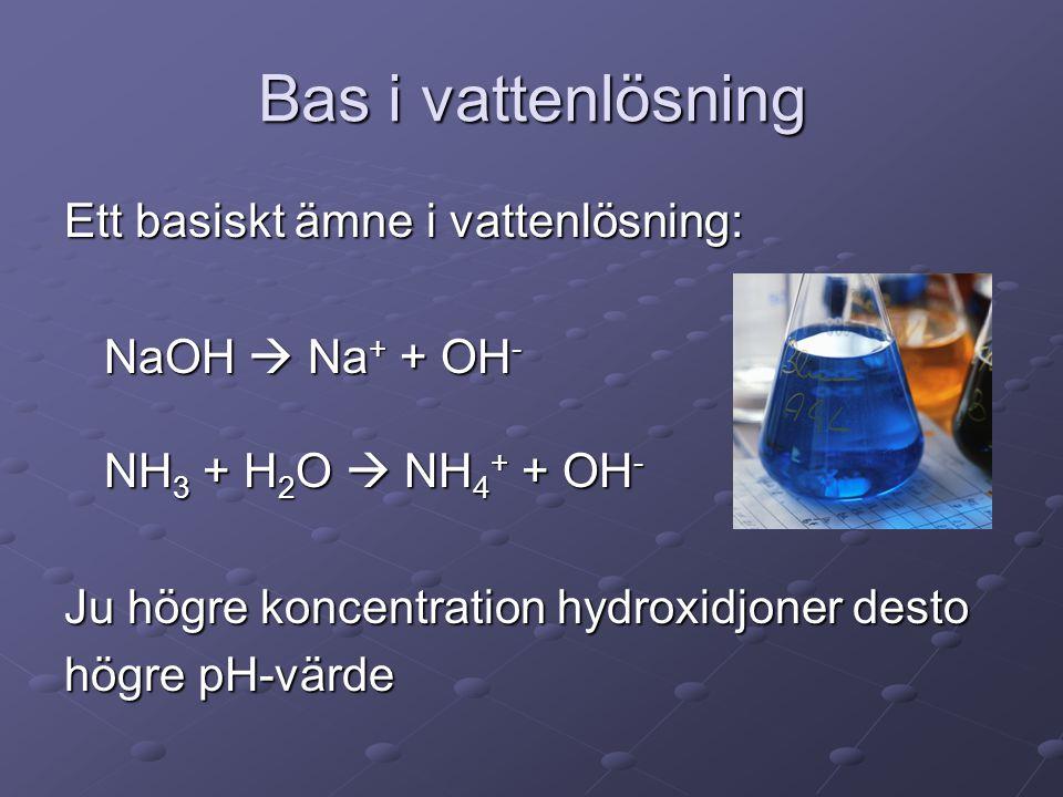 Bas i vattenlösning Ett basiskt ämne i vattenlösning: NaOH  Na+ + OH-