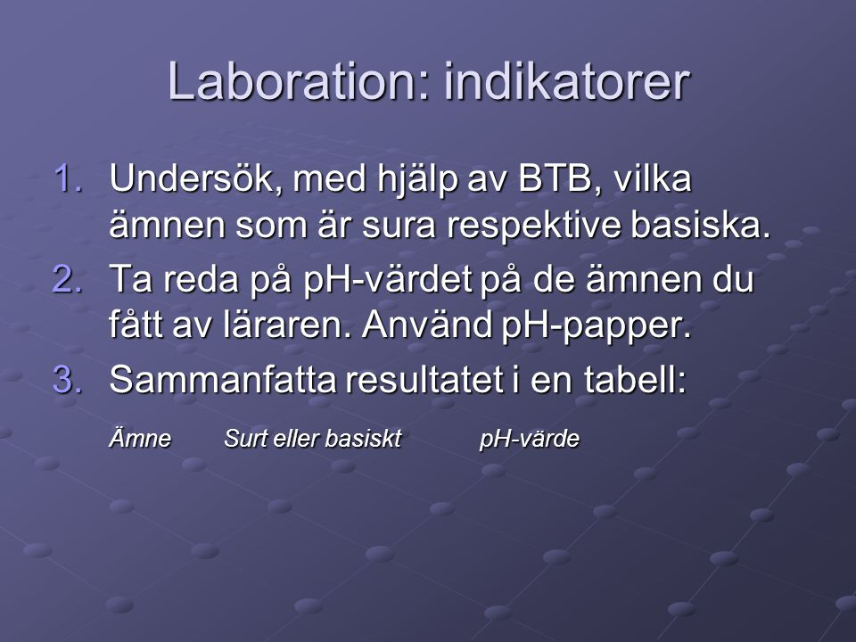 Laboration: indikatorer