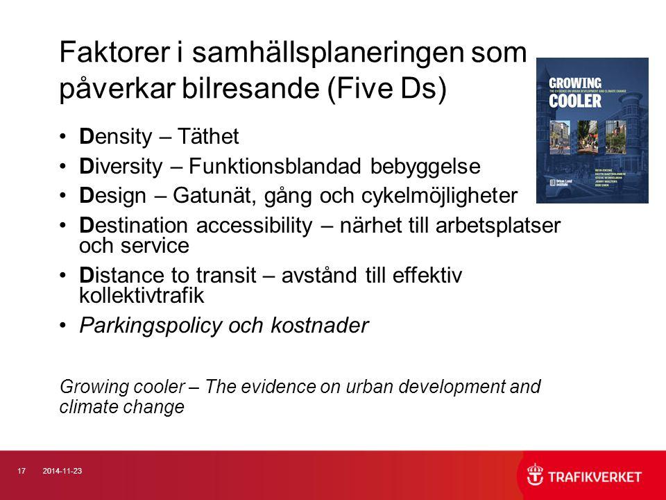 Faktorer i samhällsplaneringen som påverkar bilresande (Five Ds)