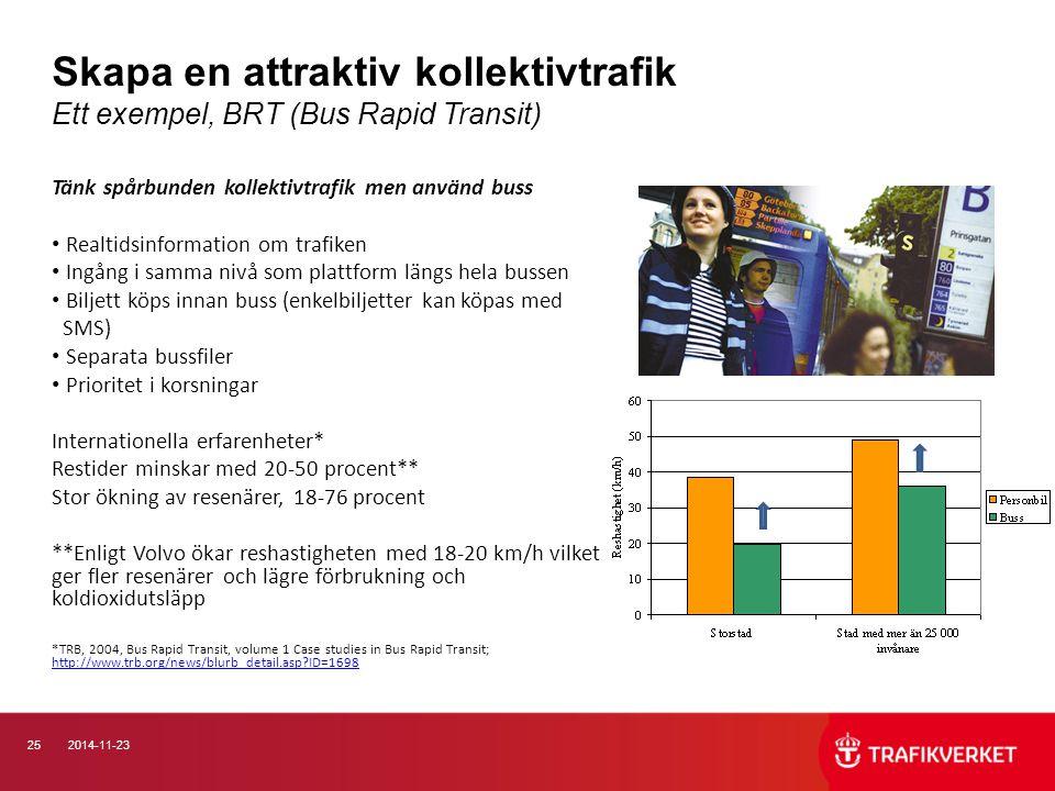 Skapa en attraktiv kollektivtrafik Ett exempel, BRT (Bus Rapid Transit)