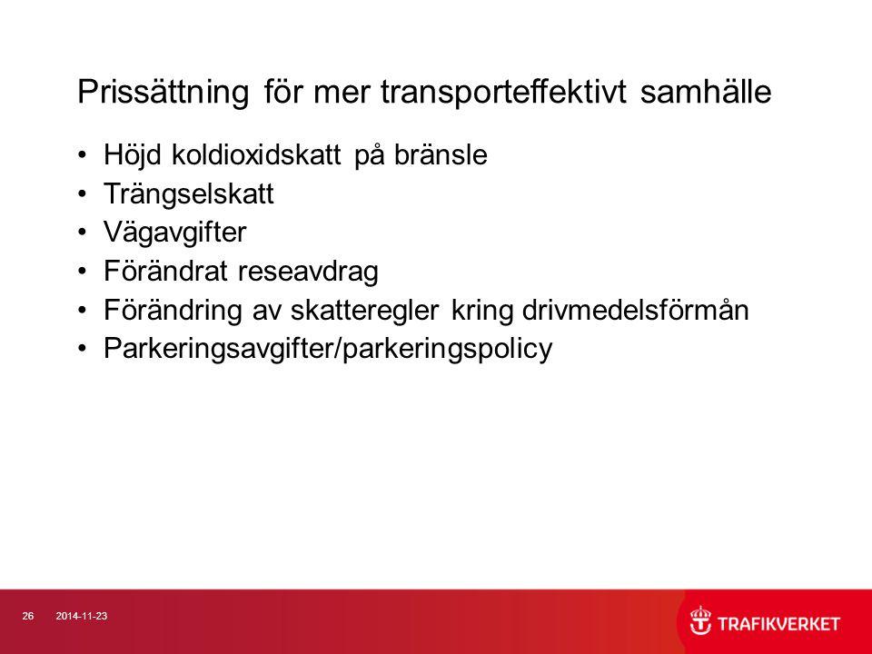 Prissättning för mer transporteffektivt samhälle