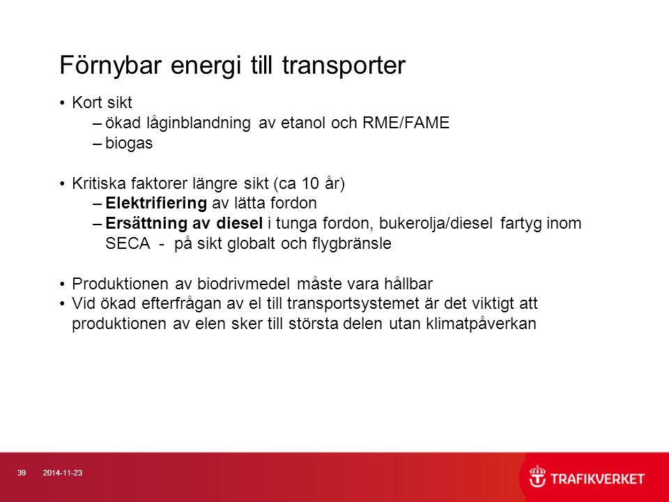 Förnybar energi till transporter