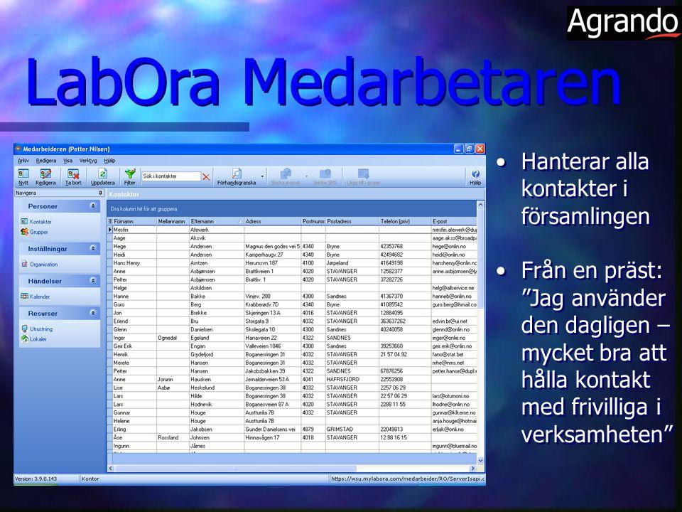 LabOra Medarbetaren Hanterar alla kontakter i församlingen