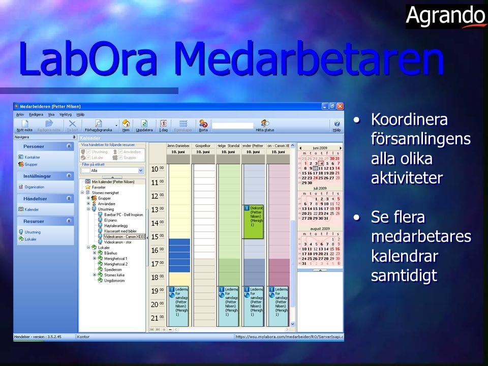 LabOra Medarbetaren Koordinera församlingens alla olika aktiviteter