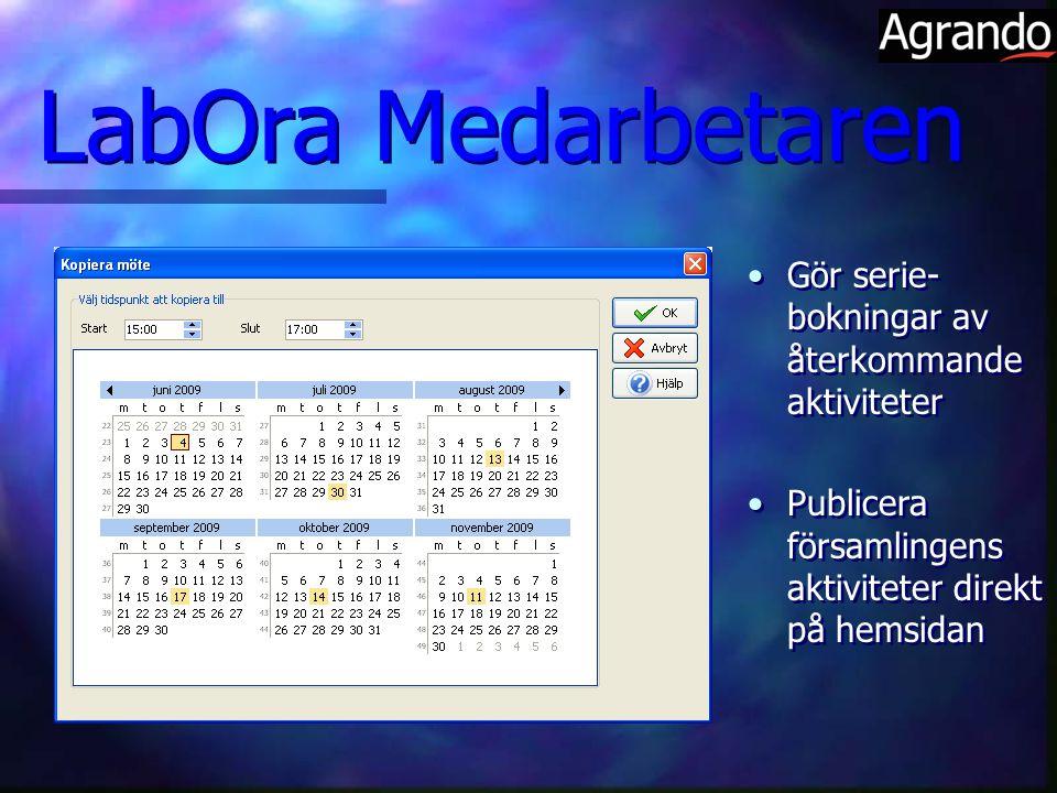 LabOra Medarbetaren Gör serie-bokningar av återkommande aktiviteter