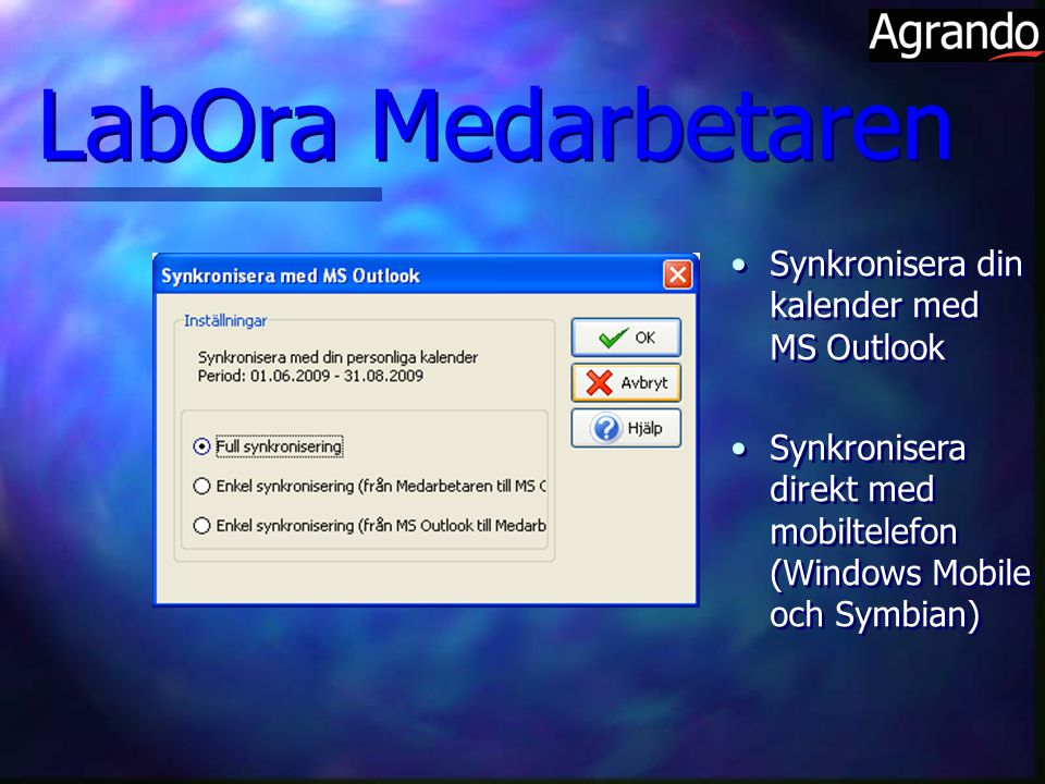 LabOra Medarbetaren Synkronisera din kalender med MS Outlook