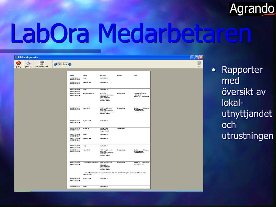 LabOra Medarbetaren Rapporter med översikt av lokal-utnyttjandet och utrustningen