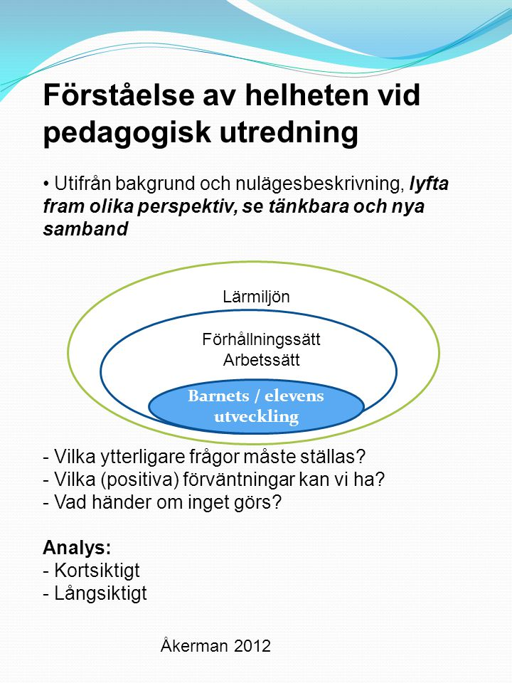 Barnets / elevens utveckling