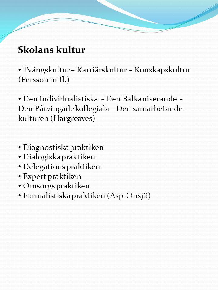 Skolans kultur Tvångskultur – Karriärskultur – Kunskapskultur (Persson m fl.)