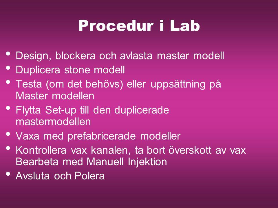 Procedur i Lab Design, blockera och avlasta master modell