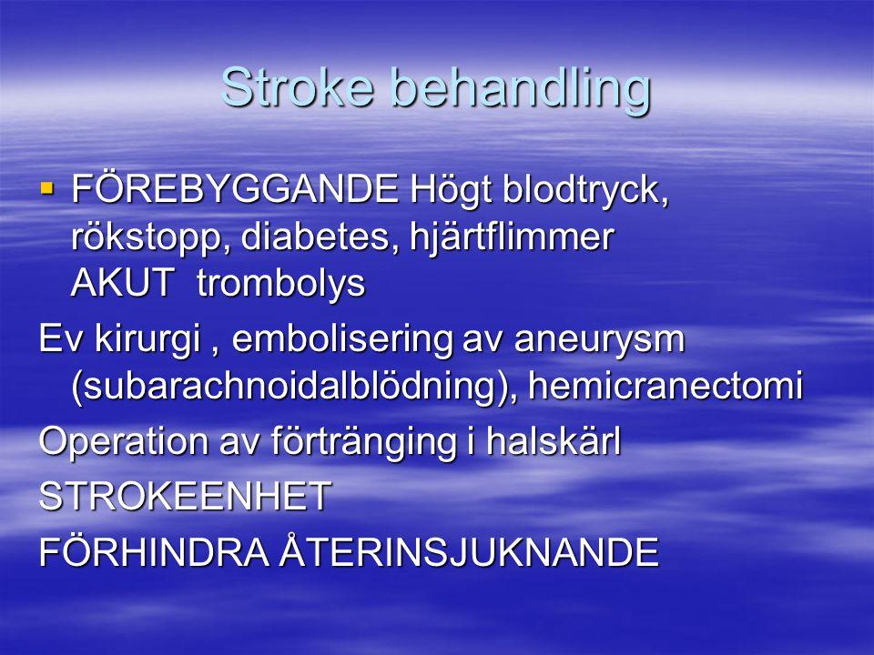 Stroke behandling FÖREBYGGANDE Högt blodtryck, rökstopp, diabetes, hjärtflimmer AKUT trombolys.
