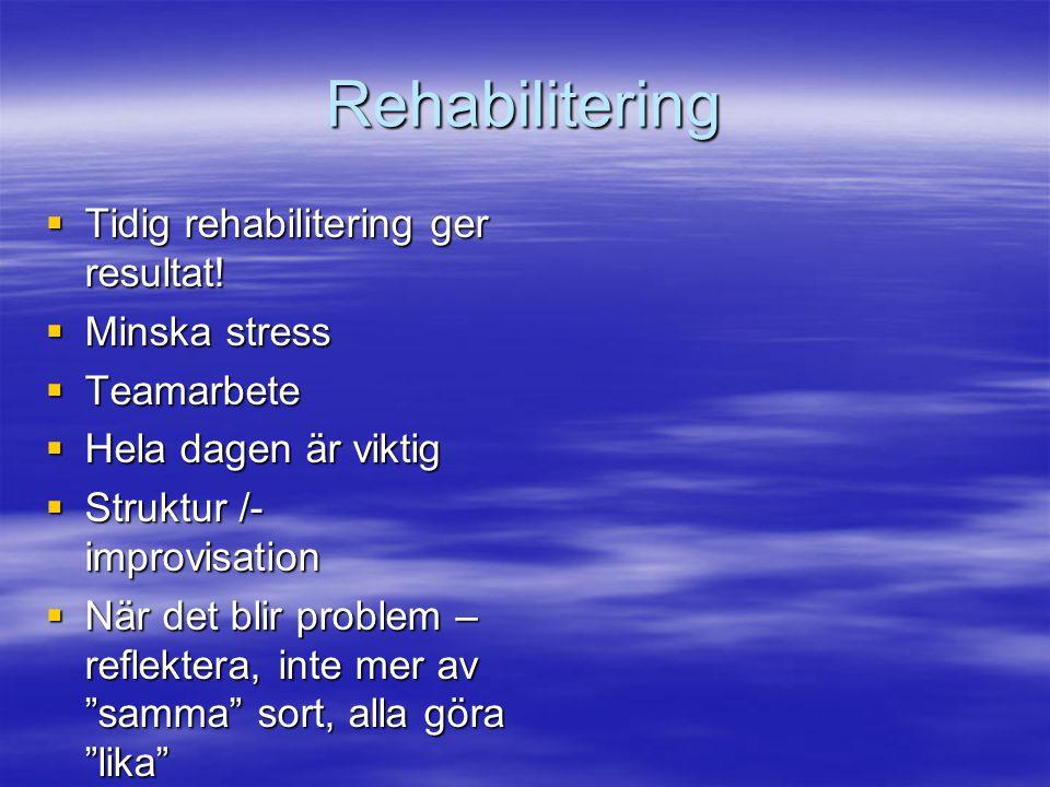 Rehabilitering Tidig rehabilitering ger resultat! Minska stress