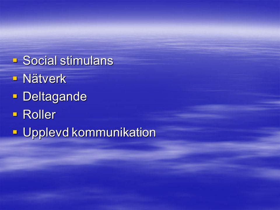Social stimulans Nätverk Deltagande Roller Upplevd kommunikation