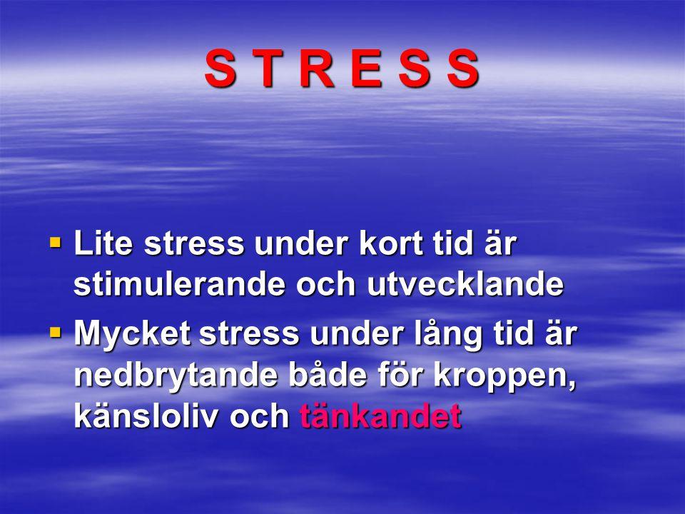 S T R E S S Lite stress under kort tid är stimulerande och utvecklande