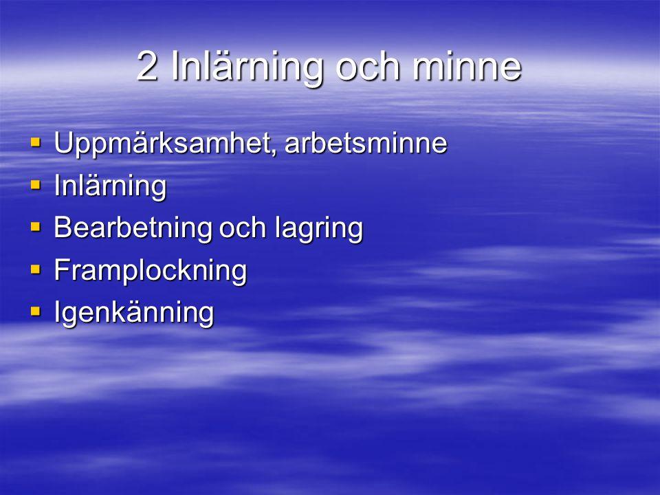 2 Inlärning och minne Uppmärksamhet, arbetsminne Inlärning