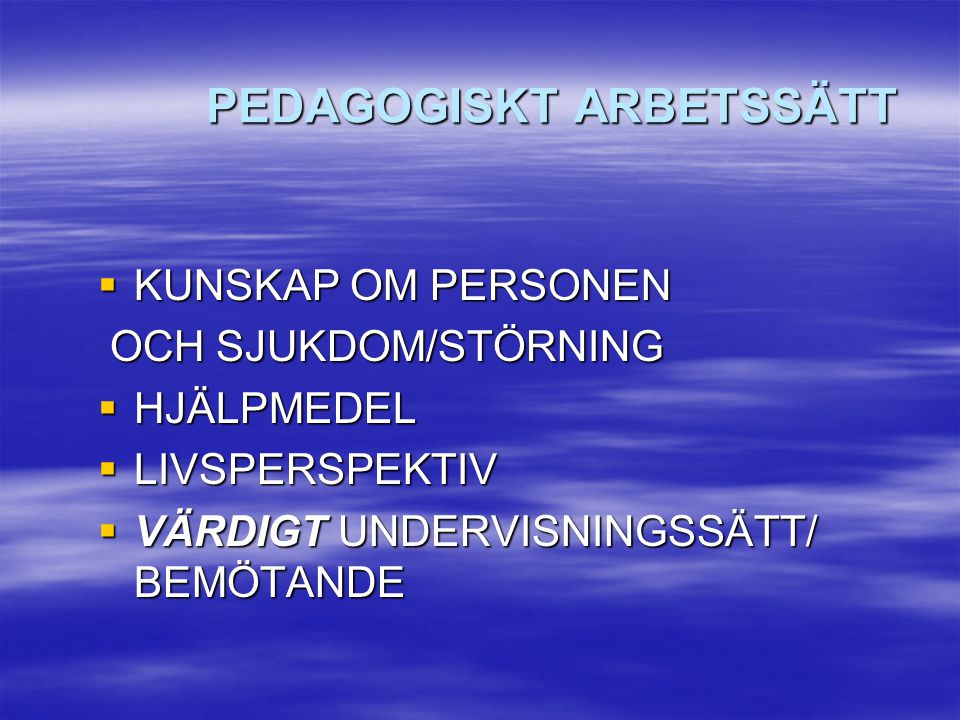 PEDAGOGISKT ARBETSSÄTT
