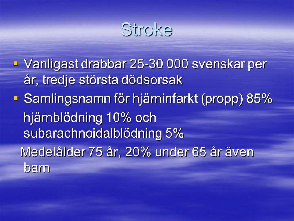 Stroke Vanligast drabbar 25-30 000 svenskar per år, tredje största dödsorsak. Samlingsnamn för hjärninfarkt (propp) 85%