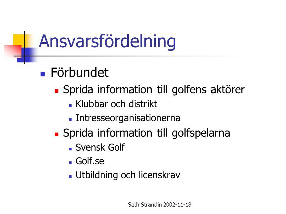Ansvarsfördelning Förbundet Sprida information till golfens aktörer