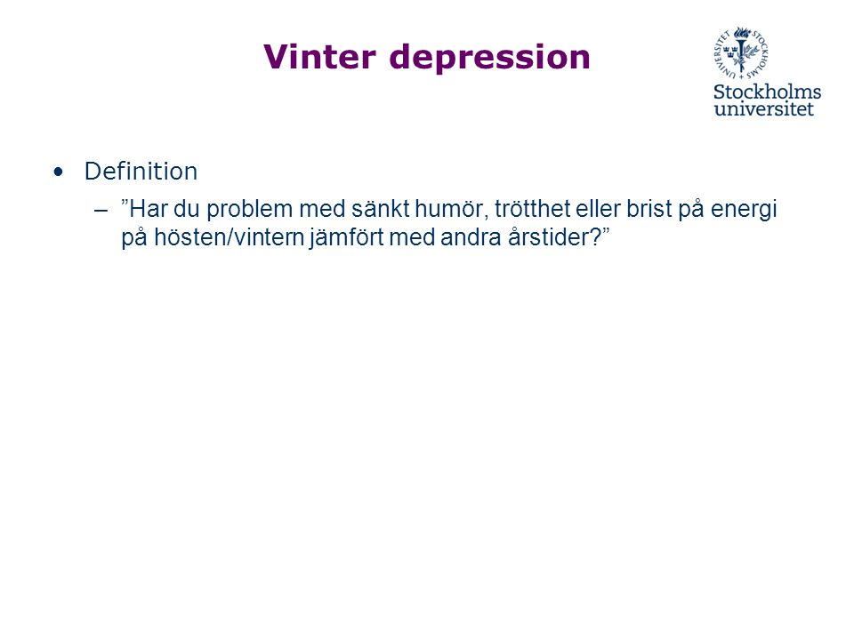 Vinter depression Definition