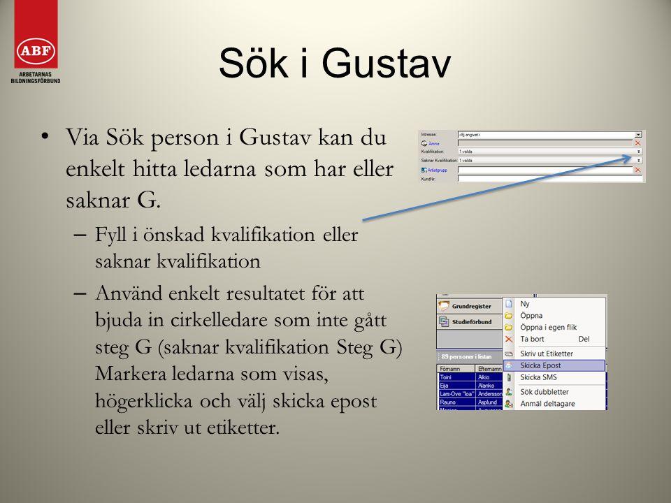 Sök i Gustav Via Sök person i Gustav kan du enkelt hitta ledarna som har eller saknar G. Fyll i önskad kvalifikation eller saknar kvalifikation.