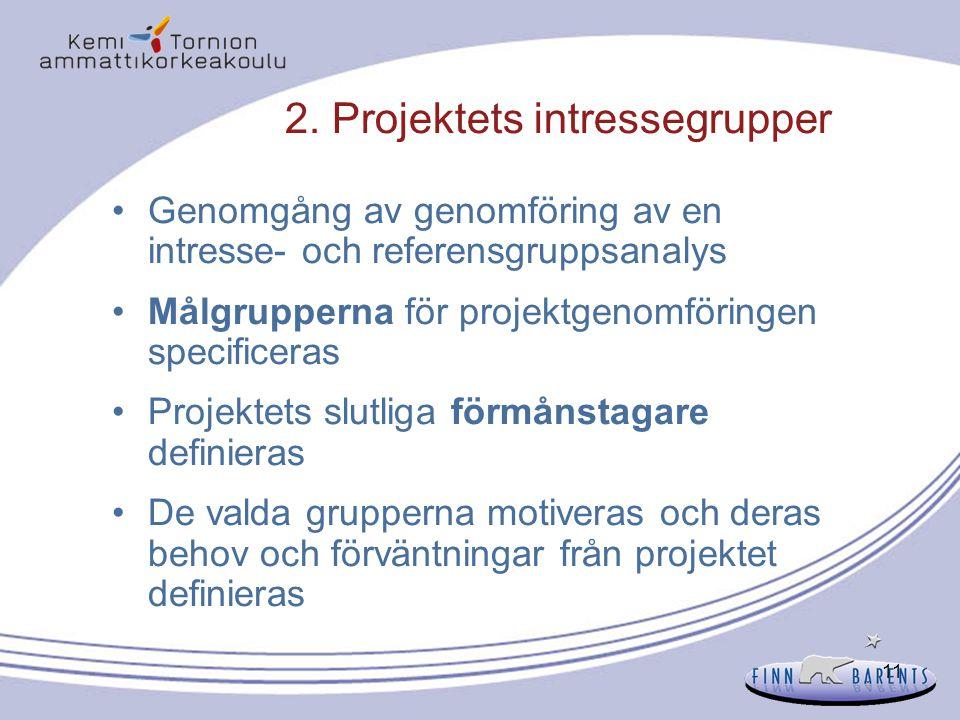 2. Projektets intressegrupper