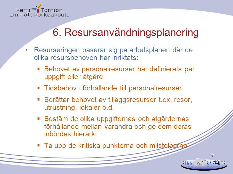 6. Resursanvändningsplanering