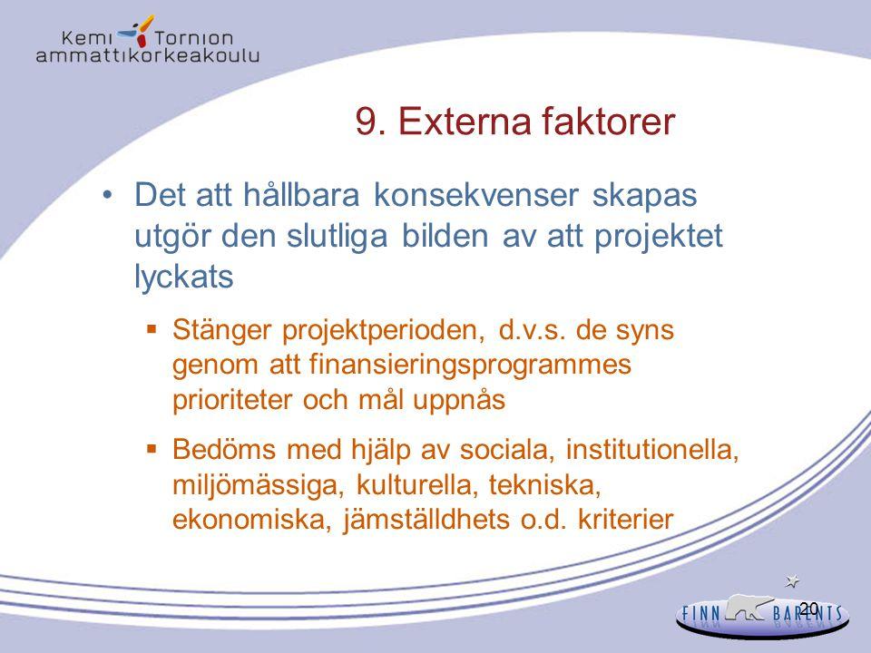 9. Externa faktorer Det att hållbara konsekvenser skapas utgör den slutliga bilden av att projektet lyckats.
