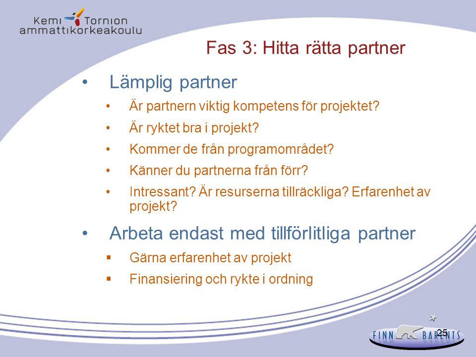 Fas 3: Hitta rätta partner