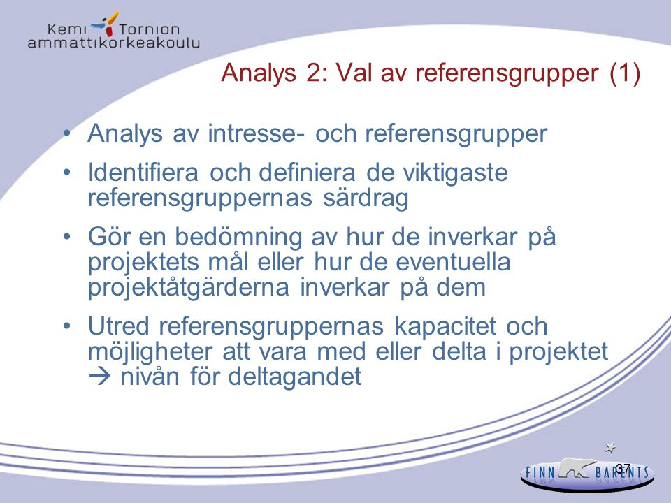 Analys 2: Val av referensgrupper (1)