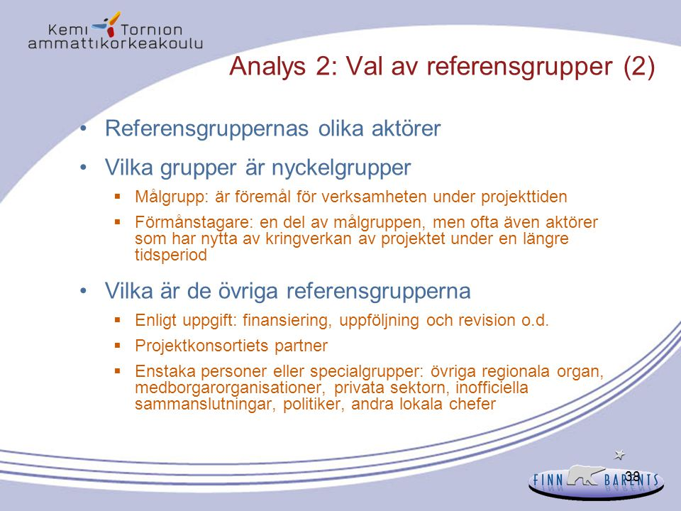 Analys 2: Val av referensgrupper (2)