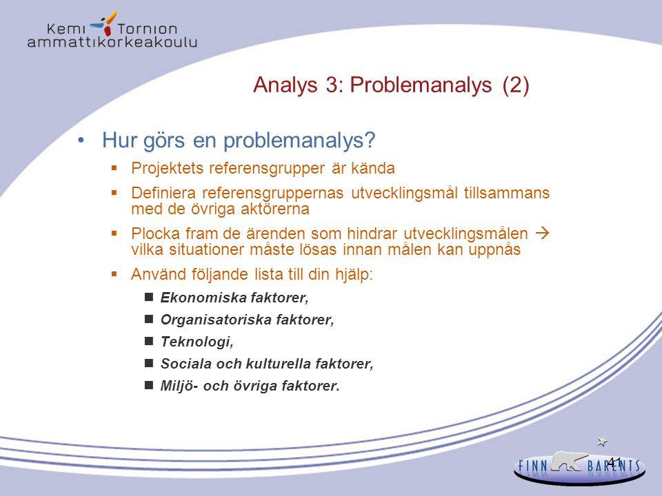 Analys 3: Problemanalys (2)