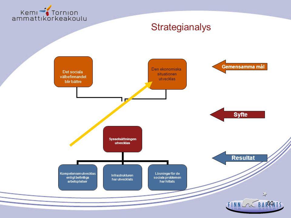 Strategianalys Syfte Resultat Gemensamma mål Det sociala
