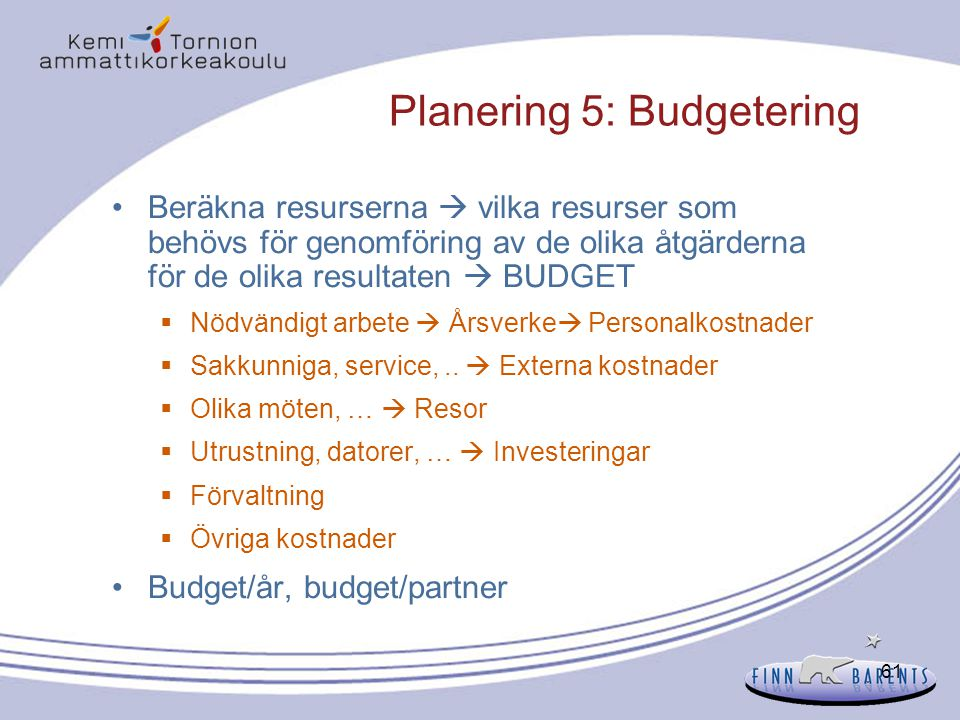 Planering 5: Budgetering