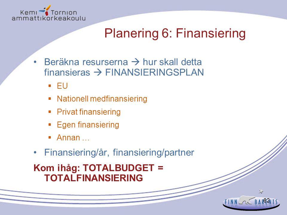 Planering 6: Finansiering