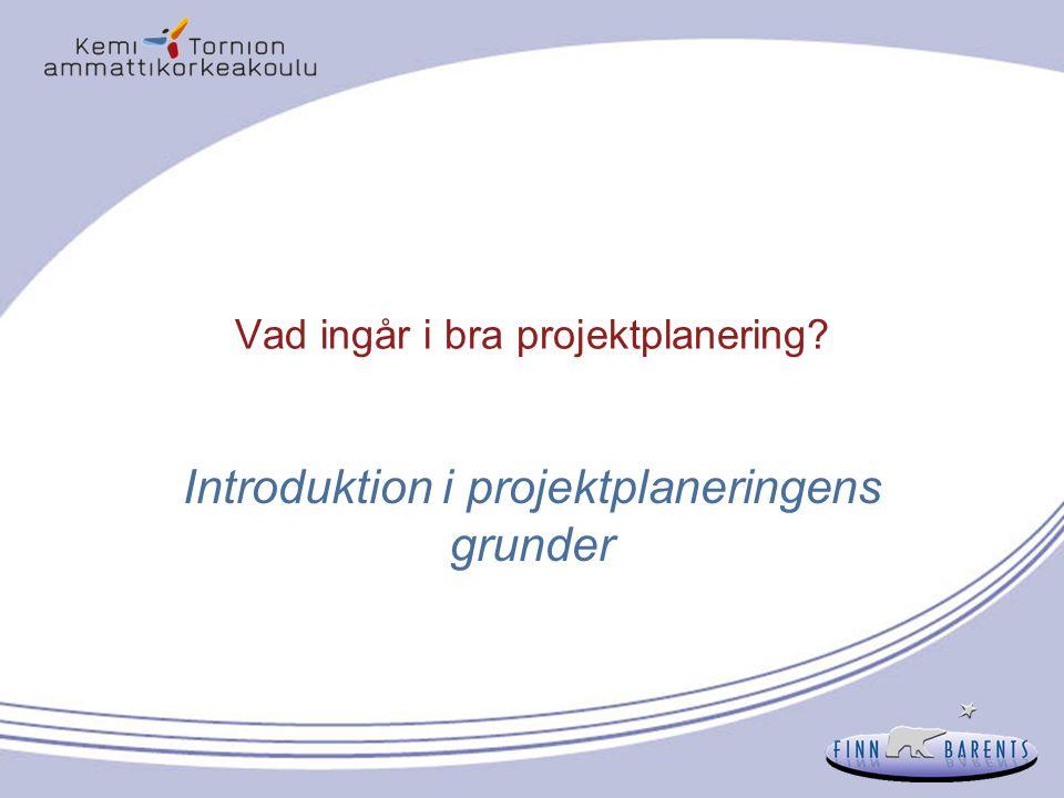 Vad ingår i bra projektplanering