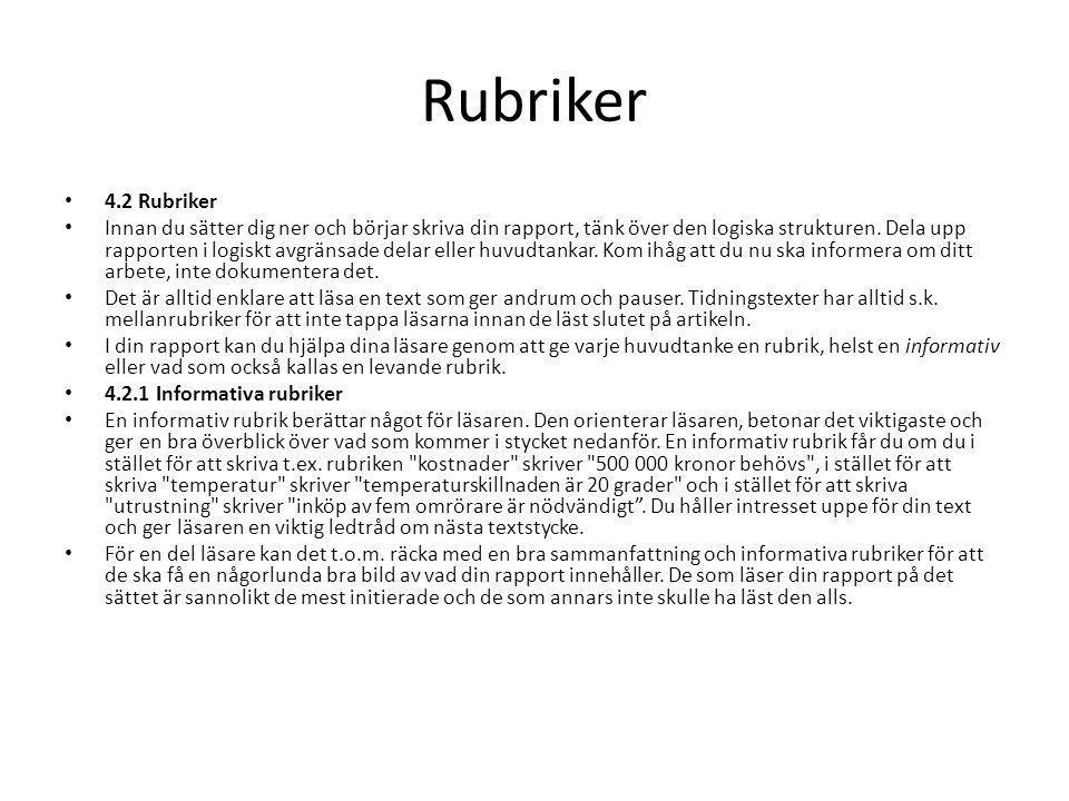 Rubriker 4.2 Rubriker.
