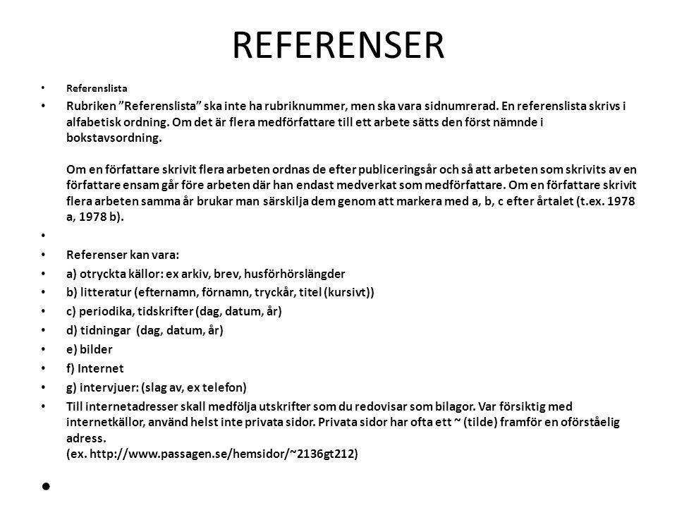 REFERENSER Referenslista.
