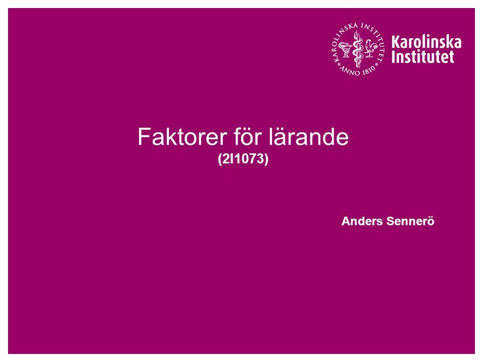 Faktorer för lärande (2I1073)