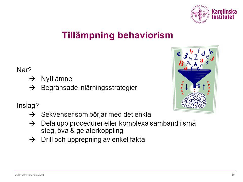 Tillämpning behaviorism