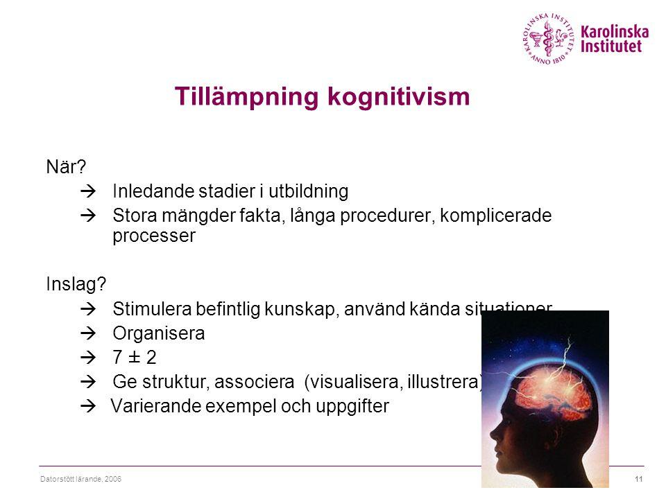 Tillämpning kognitivism