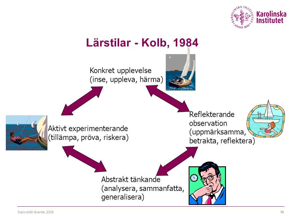 Lärstilar - Kolb, 1984 Konkret upplevelse (inse, uppleva, härma)