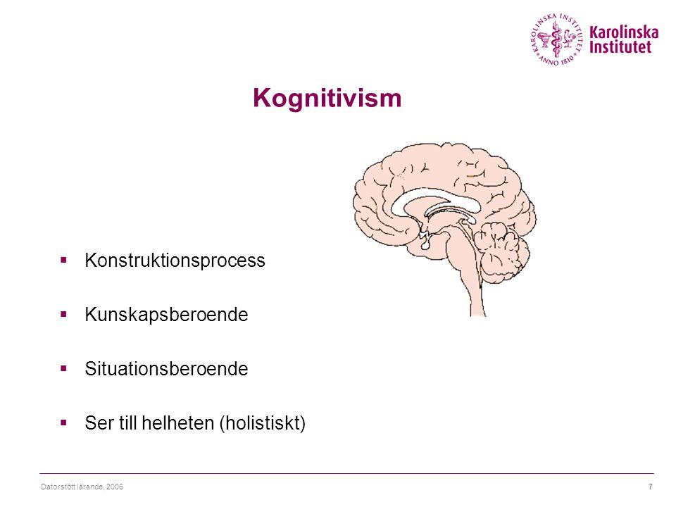 Kognitivism Konstruktionsprocess Kunskapsberoende Situationsberoende